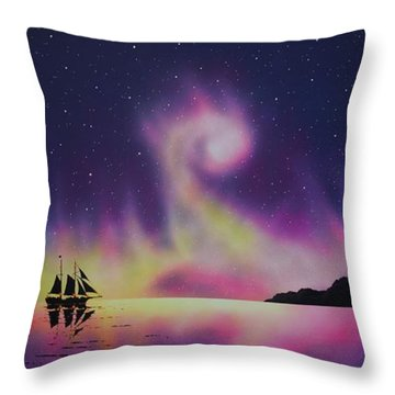 Aurora Borealis By Ship 2 Throw Pillow