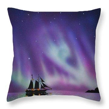 Aurora Borealis From A Ship Throw Pillow