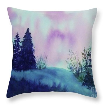 Throw Pillow featuring the painting Aurora Borealis I by Ellen Levinson