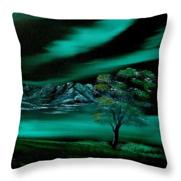 Aurora Borealis In Oils. Throw Pillow by Cynthia Adams