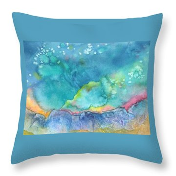 Throw Pillow featuring the painting Aurora Borealis by Nancy Jolley