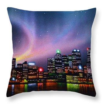 Aurora Borealis Over Toronto Skyline Throw Pillow