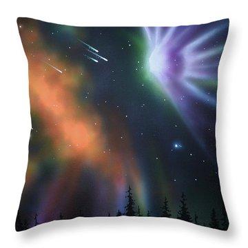 Aurora Borealis With 4 Shooting Stars Throw Pillow