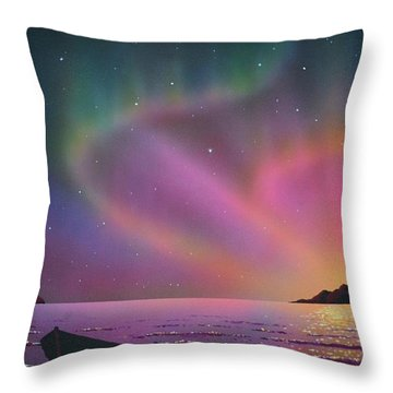 Aurora Borealis With Lobster Cage Throw Pillow