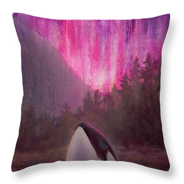 Orca Whale And Aurora Borealis - Killer Whale - Northern Lights - Seascape - Coastal Art Throw Pillow