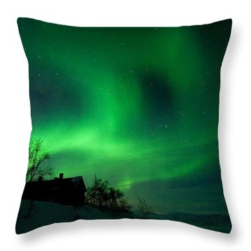 Aurora Over Lake Tornetrask Throw Pillow by Max Waugh