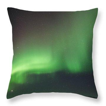 Aurora Over The Alaska Range Throw Pillow