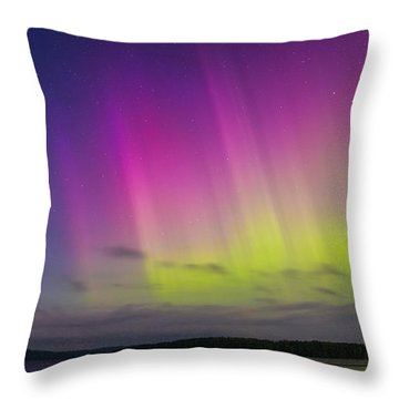 Auroras Over A Lake Throw Pillow by Janne Mankinen