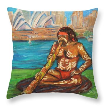 Throw Pillow featuring the painting Aussie Dream I by Xueling Zou
