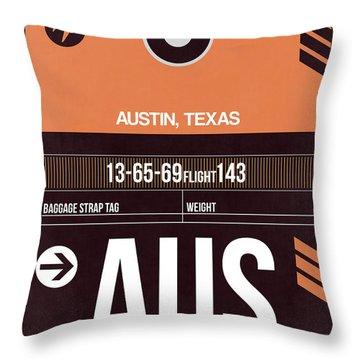 Austin Airport Poster 2 Throw Pillow by Naxart Studio