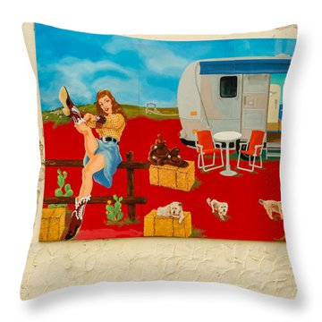 Austin - Camping Mural Throw Pillow