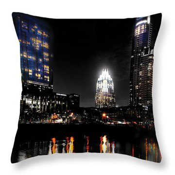 Austin Night Skyline Reflections  Throw Pillow by Gary Gibich