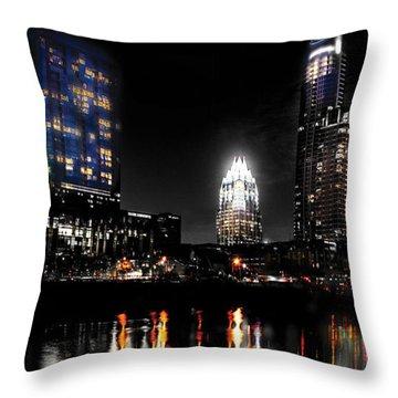 Austin Night Skyline Reflections  Throw Pillow