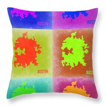 Austin Pop Art Map 4 Throw Pillow by Naxart Studio