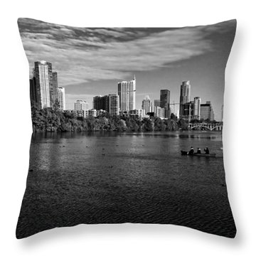 Austin Skyline Bw Throw Pillow by Judy Vincent