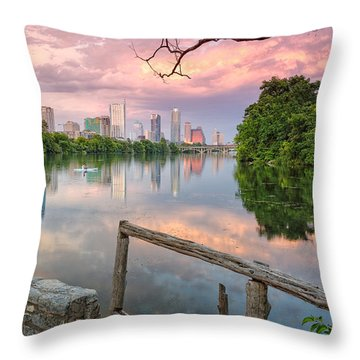 Austin Skyline From Lou Neff Point Throw Pillow by Silvio Ligutti