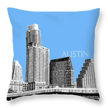 Austin Skyline - Sky Blue Throw Pillow by DB Artist
