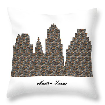 Austin Texas 3d Stone Wall Skyline Throw Pillow