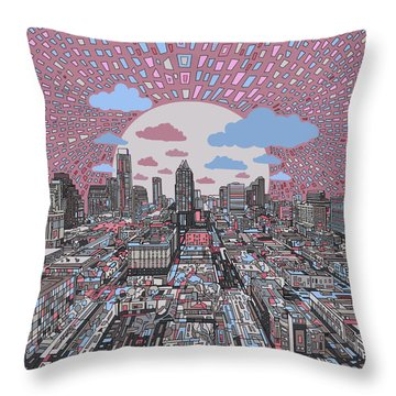 Austin Texas Abstract Panorama 3 Throw Pillow