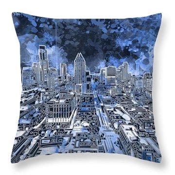 Austin Texas Abstract Panorama 5 Throw Pillow