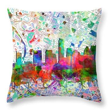 Austin Texas Abstract Panorama 7 Throw Pillow
