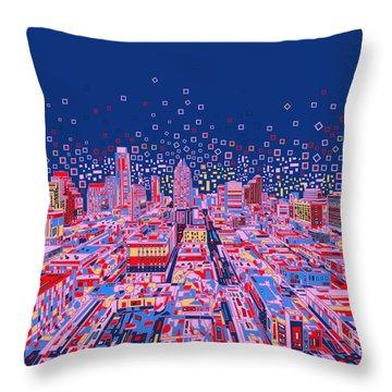 Austin Texas Abstract Panorama Throw Pillow