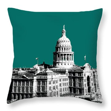Austin Texas Capital - Sea Green Throw Pillow by DB Artist