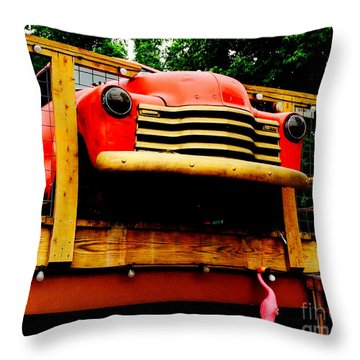 Austin Texas - Maria's Taco Express - Luther Fine Art Throw Pillow by Luther Fine Art