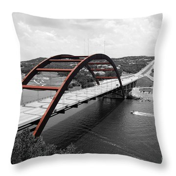 Throw Pillow featuring the digital art Austin Texas Pennybacker 360 Bridge Color Splash Black And White by Shawn O'Brien