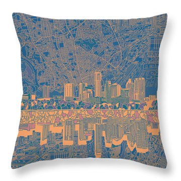 Austin Texas Skyline 2 Throw Pillow