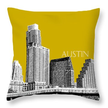Austin Texas Skyline - Gold Throw Pillow by DB Artist