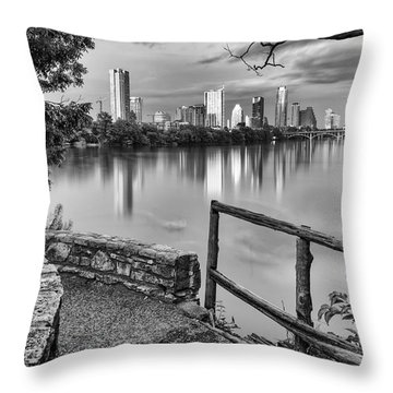 Austin Texas Skyline Lou Neff Point In Black And White Throw Pillow by Silvio Ligutti