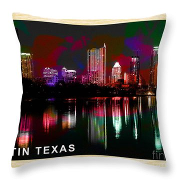Austin Texas Skyline Throw Pillow by Marvin Blaine