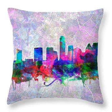 Austin Texas Skyline Watercolor 2 Throw Pillow