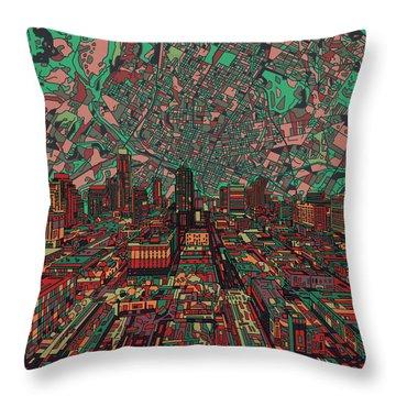 Austin Texas Vintage Panorama 3 Throw Pillow