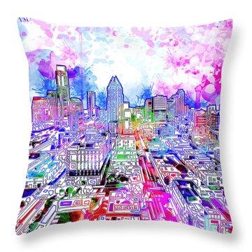 Austin Texas Watercolor Panorama Throw Pillow