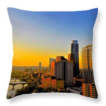 Austin's Golden Skyline Throw Pillow