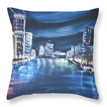 Throw Pillow featuring the painting Australia - Yarra River Melbourne At Night by Pamela  Meredith