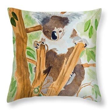Koala In A Gum Tree  Throw Pillow by Elvira Ingram