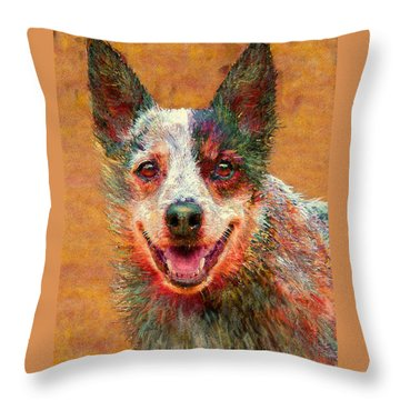 Australian Cattle Dog Throw Pillow by Jane Schnetlage