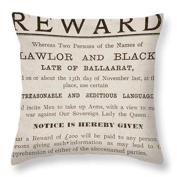Australian Reward Poster, 1854 Throw Pillow