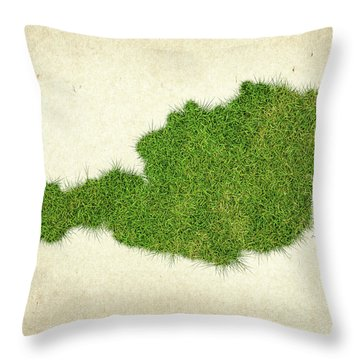 Austria Grass Map Throw Pillow