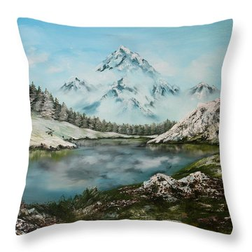 Throw Pillow featuring the painting Austrian Lake by Jean Walker