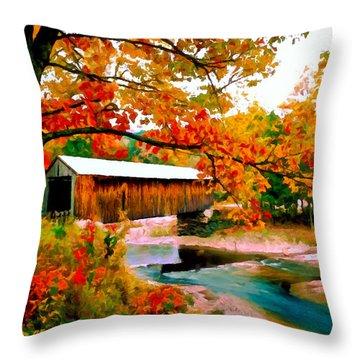 Authentic Covered Bridge Vt Throw Pillow