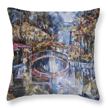 Autmn Afternoon At The Pond Throw Pillow