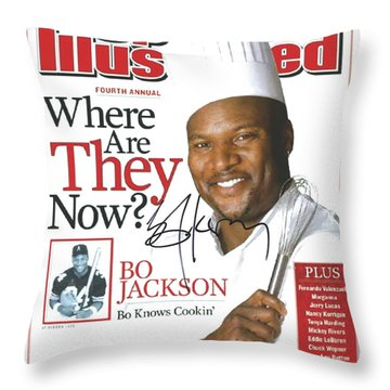 Autographed Sports Illustrated Cover By Bo Jackson Bo Knows Cookin' Throw Pillow by Desiderata Gallery