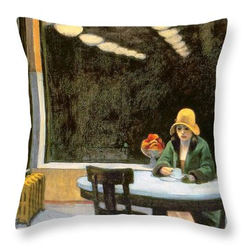Automat Throw Pillow by Edward Hopper
