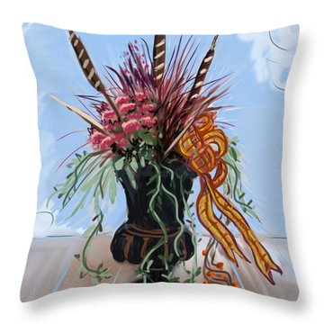 Throw Pillow featuring the painting Automne Jardiniere by Jean Pacheco Ravinski