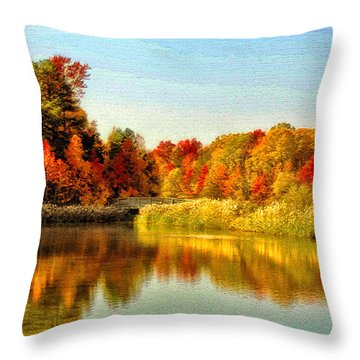 Throw Pillow featuring the photograph Autumn Ablaze by Ola Allen
