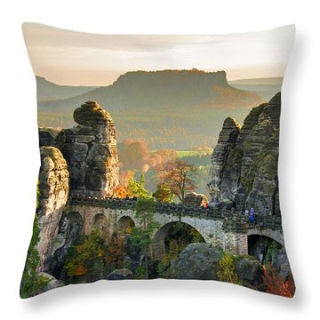 Autumn Afternoon On The Bastei Bridge Throw Pillow